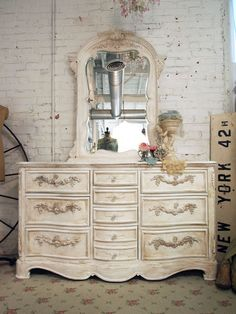 Painted Cottage Shabby White Romance Dresser with Mirror.