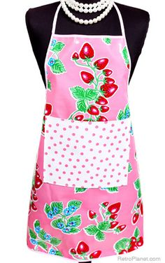 Pink strawberries oilcloth apron.  $21.99.