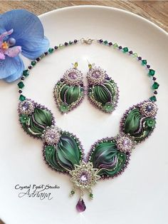 Green Silk Shibori Set Necklace Earrings Green Purple Crystal
