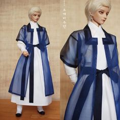 """도깨비주단 on Instagram: """"작년 여름 신작 [청려]의상입니다. 깨끗한 흰 숙견 철릭에 홑겹 방령답호를 걸친 시원한 느낌의 의상이에요. 경복궁 수문장 의상 구성을 참고했습니다:-) #도깨비주단 #인형한복 #한복 #hanbok #bjd #구체관절인형 #costumedeign…"""" Korean Outfits, Bjd Dolls, Duster Coat, Mens Fashion, Photo And Video, Jackets, Clothes, Dresses, Drawing"""