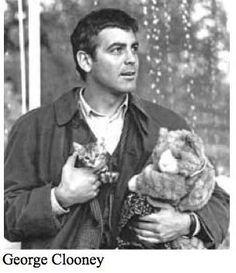 Awww..George Clooney and a kitty!