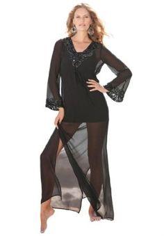 496cca4c46e29 Roamans Plus Size Sequined Maxi Coverup (Black