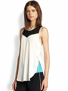 3.1 Phillip Lim Chevron Silk Tank