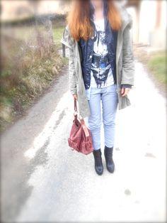 idea outfit camcia righe quadretti t shirt, automa style, purple sartorial, femblu, parka, amanda marzolini made in italy, bologna, parma fashion blogger fake fur the fashionamy outfit style blog,
