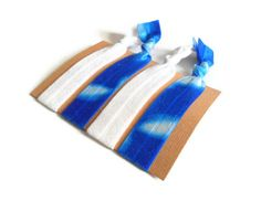 Elastic Hair Ties Blue Tie Dye Yoga Hair Bands by MadebyMegToo, $5.00