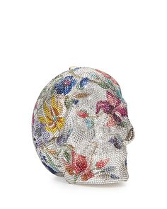 Floral Skull Crystal Clutch by Judith Leiber
