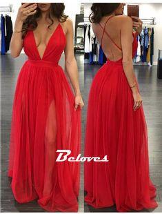 Fabric:+Chiffon Color:+Red Skirt:+A+Line Neckline:+V+Neck Skirt:+Slit+ Sleeve:+Sleeveless Back+Detail:+Open+Back L…