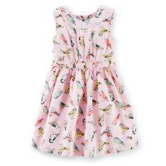 Sateen Bird Print Dress | Carter's