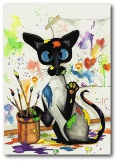 Siamese Creative Cat Artist Painting Artwork - Art Print or ACEO by Bihrle ck263
