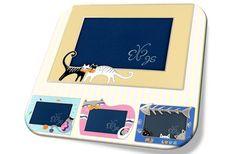 Adorable Cat Loving Picture Frame(sky blue/lemon)/러브 캣 액자(스카이블루/레몬)/photo frame/고양이액자/어린이선물/인테리어액자/사진액자/돌답례품/돌선물/돌잔치/탁상액자/크리스마스선물
