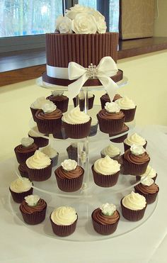 Vanilla & Chocolate Sugar Rose Wedding Cupcake Tower