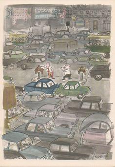 How do you catch a cold in Paris, 1961 - October Sempé Illustration Parisienne, Paris Illustration, Fantasy Illustration, Christmas Illustration, Illustration Styles, Kids Cartoon Characters, Cartoon Family, Paris Ville, Advertising Poster