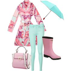 Playing in the rain with Peggy! by bearpawstyle on Polyvore featuring Emilio Pucci, Tommy Hilfiger, Bearpaw and Hunter