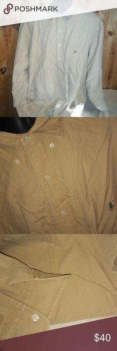 ralph lauren tan dress shirt men size 4XL e17 100% cotton men size 4XL long sleeve button up Ralph Lauren Shirts Dress Shirts