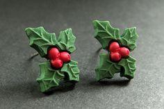 New to StumblingOnSainthood on Etsy: Holly Earrings. Holiday Earrings. Christmas Earrings. Post Earrings. Stud Earrings. Christmas Holly.  Handmade Jewelry. (8.00 USD)