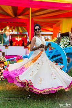 Lovely colourful lehenga with long ivory jacket styled kurta Indian Wedding Outfits, Bridal Outfits, Indian Outfits, Wedding Attire, Traditional Fashion, Traditional Dresses, Mehendi Outfits, Bollywood Outfits, Before Wedding