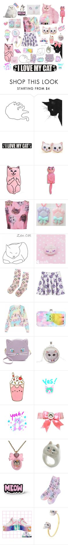 """""""You call me crazy, but my cats call me mom"""" by lolitaiopi ❤ liked on Polyvore featuring Sixtrees, Hot Topic, Pusheen, WithChic, Patricia Chang, Nach, cats, pastel, kawaii and harajuku"""