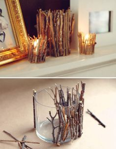 I love candles. And this is a creative way to put them around your house.   -Add rustic beauty to your mantle with twig candle holders. This DIY project is simple and natural, using just a flat candle holder (check thrift stores!), garden pruners, craft adhesive and dry tree or shrub branches of your choosing. The same concept could be used on vases or other decorative items