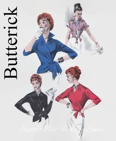 Vintage Butterick 7640 Sewing Pattern - Wrap Around Surplice Peplum Blouse - 1950s Sewing Patterns - Size 14 Bust 32 - Quick 'N Easy - UNCUT by EightMileVintageSews on Etsy