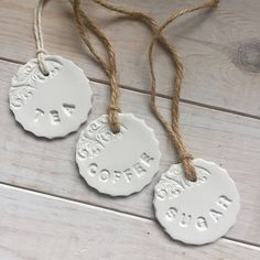 Set of handmade clay Tea Coffee Sugar Tags Clay tags Jar