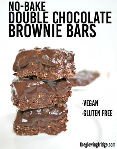 No Bake Double Chocolate Brownie Bars - vegan, gluten free, oil free, low fat, simple and GUILT FREE!  Melt in your mouth chocolate fudge layered over an decadent brownie crust. From The Glowing Fridge.