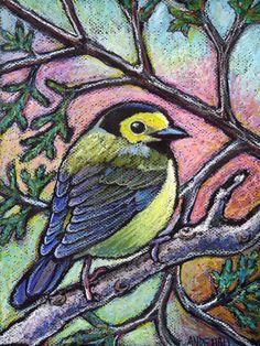 """9x12 Original Oil Pastel Bird Painting - """"Hooded Warbler"""" - Not a Print - bird art - Warbler"""