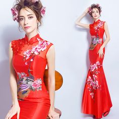 e57471de8 US $66.24 8% OFF|cheongsam dress lace red blue white qipao long dragon and  phoenix chinese style wedding traditional elegant long mermaid-in Cheongsams  from ...