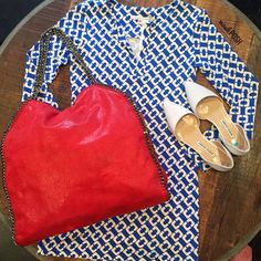 Fourth of July Style! Shop the bag & shoes on www.mymoshposh.com! Call us at 813-258-8800 if you would like to purchase the dress! #redwhiteandblue #fourthofjuly #holiday #style #fashion #dianevonfurstenberg #dvfdresses #stellamccartney #maniloblahnik #purselover #purseblog #shoelover #talkshoes #moshposhfinds #mymoshposh #designerhandbags #designerconsignment