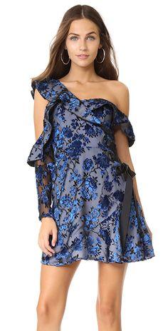 Self Portrait Eyelet Wrap Velvet Mini Dress | SHOPBOP