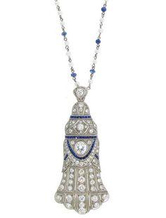 Diamond, synthetic sapphire and platinum Art Deco pendant - Circa Art Deco Diamond, Vintage Diamond, Art Deco Jewelry, Pendant Jewelry, Antique Jewelry, Vintage Jewelry, Deco Blue, Platinum Jewelry, Jewelery