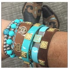 Rustic cuff - blue and Brown