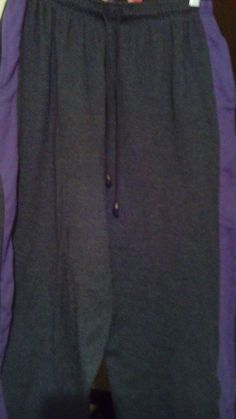 """PANTS SLACKS """"WOMAN WITHIN"""" WIDE LEGWITH PURPLE SIDE SPORT/ATHLETIC STRIPE GREAT #WOMANWITHIN #CasualPants"""