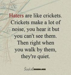 Haters are like crickets, crickets make a lot of noise,you hear it but you can't see them. then right when you walk by them,, they're quit..