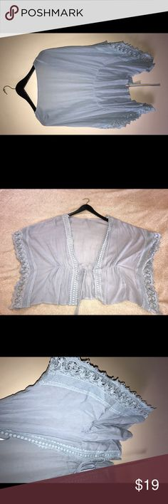 ✨Francesca's Light Blue Kimono! SM- NWOT! Francesca's Boutique light blue kimono style tunic, perfect layering piece for summer! Color is light blue with lace detailing on the sleeves. There is a tie in the front to close it or keep it open. Great piece to dress up and down! Has never been worn, brand new! Francesca's Collections Tops Tunics