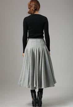 Light gray wool skirt 748 by xiaolizi on Etsy