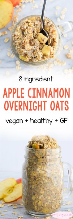 Vegan apple cinnamon overnight oats are thick, satisfying, and full of sweet apple and cinnamon spice flavor! A super healthy and quick make ahead breakfast for busy fall mornings. Nutritious Breakfast, Make Ahead Breakfast, Vegan Breakfast Recipes, Delicious Vegan Recipes, Raw Food Recipes, Breakfast Club, Free Recipes, Vegan Desserts, Vegan Food