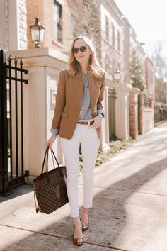 Regent Blazer / Striped Floral Top /  Similar Woven Belt / Tory Burch Wedges / Rag & Bone Skinny Jeans  / Kate Spade Initial Necklace / Louis Vuitton Neverfull Tote MM