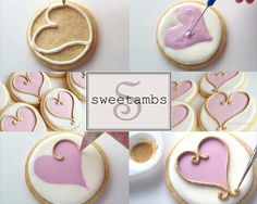 heart on round cookie with gold outline