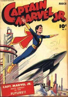 graceful cover drawn by co-creator Mac Raboy. Captain Marvel Shazam, Mary Marvel, Original Captain Marvel, Oh Captain My Captain, Comic Book Covers, Comic Books Art, Comic Art, Book Art, Dc Comics Collection