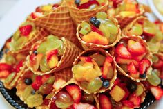 Waffle cone fruit cups!
