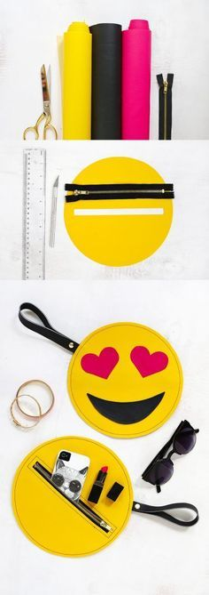 """Emoji"" bag for accessories Felt Crafts, Diy And Crafts, Sewing Hacks, Sewing Projects, Emoji Craft, Pencil Bags, Handmade Bags, Diy Fashion, Sewing Patterns"