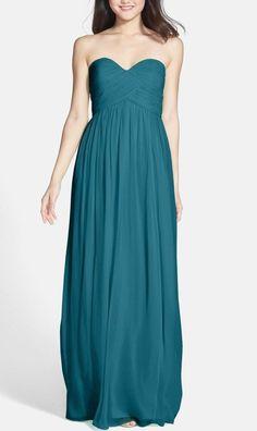 DONNA MORGAN LAURA Ruched Sweetheart Silk Gown Dress Sz 14W Jade Green #DonnaMorgan #Formal
