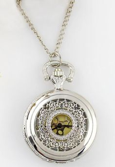 Silver Hollow Chain Watch Necklace