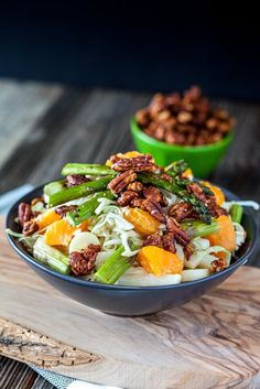Heart of Palm, Jicama & Asparagus Cabbage Salad with Maple Sriracha Pecans #vegan #glutenfree | Keepin' It Kind