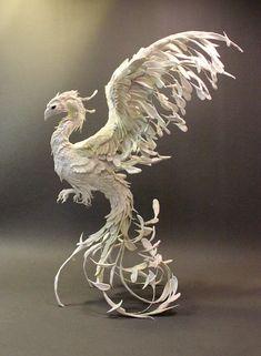 Snowy Phoenix original OOAK sculpture by creaturesfromel on Etsy, $725.00