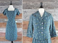 1950s dress & jacket // Lily of the Valley // 50s wiggle dress and 50s blazer // size m, 119 eur, Etsy