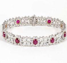Fine Burma Ruby Diamond Bracelet | From a unique collection of vintage tennis bracelets at https://www.1stdibs.com/jewelry/bracelets/tennis-bracelets/