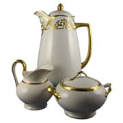Herrmann Ohme Silesia Art Deco Gold & White Coffee/Chocolate Pot & Limoges Creamer & Sugar Set