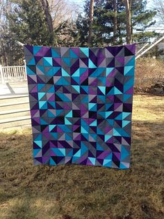 Fantastic color choices in this HST quilt top by Kali Zirkle.