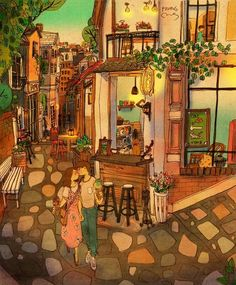 We walked on the alley lined up with small cafés. Cute Couple Art, Cute Couples, Couple Illustration, Illustration Art, Puuung Love Is, Two Worlds, Cafe Art, Art Anime, Couple Cartoon